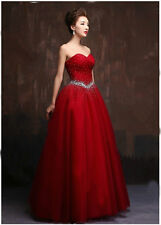 New Red Prom Dresses Beading Quinceanera Party Evening Formal Wediing Gown 2015