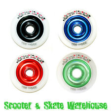 2 X METAL CORE SCOOTER WHEELS 100mm 88A WITH BEARINGS - FREE DELIVERY