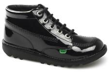 Kickers KICK HI Y CORE Womens Older Boys Girls Patent Leather School Boots Black