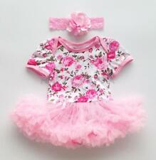 Infant Baby Girls Pink Rose Floral Romper Tutu Dress Outfit Bodysuit Clothes New