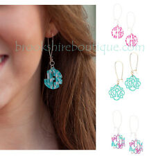 PERSONALIZED MONOGRAMMED ACRYLIC EARRINGS PINK AZTEC or MINT IKAT GOLD TONE WIRE