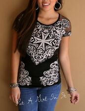 VOCAL SEXY CRYSTAL BLACK LACE IRON CROSS WESTERN BLING SHIRT BIKER S M L XL