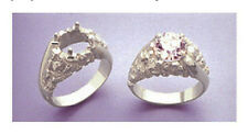 (9-12mm) Round Nugget Swirl Silver RESIZED Pre-Notched Ring Setting (Size 7-14)