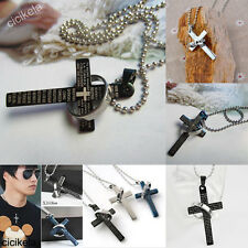 1Pcs Fashion Men's Punk Titanium Steel Bible Cross Ring Charms Pendant Necklace