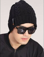 Men's Warm Fleece Winter Beanie Wool Knit Casual Pigtail Hat Cap OSFM,black,blue