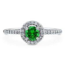 BERRICLE 925 Silver 0.63 Carat Simulated Emerald CZ Halo Promise Engagement Ring