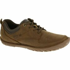 Cat ® ABILENE Mens Rugged Leather/Suede Casual Comfy Lace-Up Shoes Brown Sugar