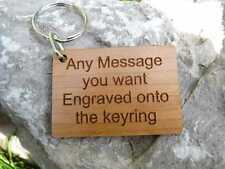 Personalised Keyring engraved with custom message, name or text in Wood