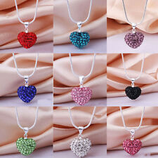New Crystal Heart 925 Sterling Silver Pated Snake Chain Necklace Jewelry Pendant