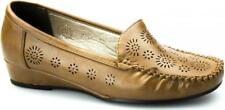 Comfort Plus AVELINE Ladies Faux Leather Flexi Comfy Wide Fit Wedge Loafers Tan