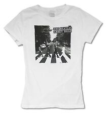 """THE BEATLES  """"ABBEY ROAD ON WHITE"""" WHITE BABY DOLL T-SHIRT NEW OFFICIAL JRS"""