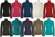 New Womens Ladies Soft Stretch Ribbed Turtle Neck Polo Top Jumper S/M M/L