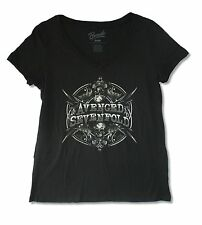 "AVENGED SEVENFOLD ""MIRRORED"" BLACK LADIES PLUS V NECK TEE SHIRT NEW OFFICIAL"