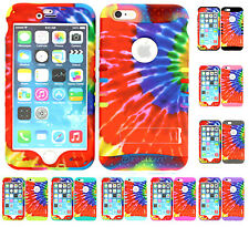 Iphone 6s / 6 Hybrid Rugged Rubber Impact Shock Proof Armor Cover Case Tie Dye