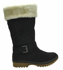 WOMENS FUR LINED QUILTED LADIES GRIP SOLE WINTER CALF BOOTS SHOES BLACK SIZE 3-8