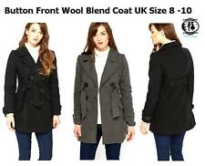 WOMAN WINTER MAC THICK FLEECE DOUBLE BREASTED LONG COAT SIZE 8-10 JACKET BELTED