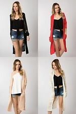 Ladies Long Knitted Crochet Cardigan Jacket Top Size 6 8 10 12 14 BNWT FREE P&P
