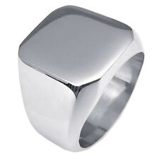 Fashion Simple Mens Biker Polished Stainless Steel Signet Ring Silver