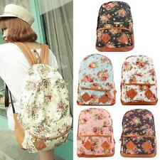 Fashion Women Girl Canvas Rucksack Flower Backpack School Book Bag Shoulder Bag
