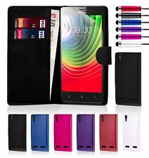 32nd Book Wallet PU Leather Case Cover Lenovo Phones + Screen Protector & Stylus