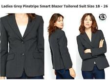LADIES PLUS SIZE 8-26 PINSTRIPE BLAZER TAILORED SUIT JACKET COAT OFFICE WORK