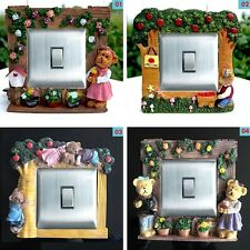 Hand Paint Flowers Garden Style Cute Bears Light Switch Surround, Wall Strickers