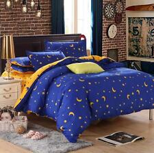 Blu Star Moon Single Double Queen King Size Bed Set Pillowcase Quilt Duvet Cover
