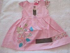 PRETTY BABY GIRLS SUMMER DRESS PINK  WITH EMBROIDERED FLOWERS  SIZE 1 & 2 BNWT