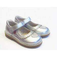 Girls Silver Leather Shoes | Pippo Sara Silver Mary Jane Shoes