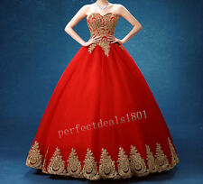 New 2016 Charming Prom Dresses Ball Gold Applique Quinceanera Party Bridal Gowns