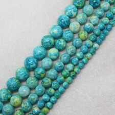 6-14mm Cyan Blue Multicolor Snow jade stones Round DIY Gemstone loose beads 15""