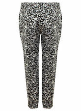 Ex Miss Selfridge Ladies Black White Floral Trousers Size 4-12