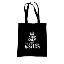 KEEP CALM/CARRY ON SHOPPING, TOTE CANVAS SHOPPING BAG, Birthday Gift