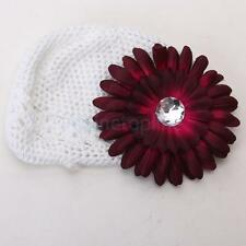 Baby Girl Toddler Cute Handmade Flower Knit Crochet Beanie Hat Cap Headband New