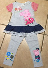NWT Peppa Pig Lace & Ruffle Tunic Top & Gray Flowers Leggings Set SZ 18/24m-5/6