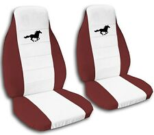 Ford Mustang Seat Covers 2008-2012 White Center and Black Horse 20 Color Options
