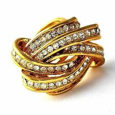 vintage mens ring size 6-10 unique Twist ring gold filled womens crystal ring