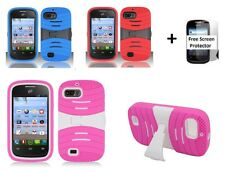 For ZTE Valet Z665C Rugged Phone Cover Case + Screen Protector