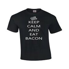 Keep Calm And Eat Bacon Rude Tee Funny T Shirt Epic Food Party Tee Gag Gift