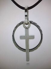 Mens Cross & Ring Pendant Black Wax Rope Necklace/Stainless Steel Cross & Ring