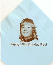 30 Blue Personalised Photo Paper Napkins 40cm 3 Ply Birthday Serviettes Party