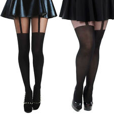 Pamela Mann Plain Stripe suspender Tights, UK 8 up to uk 32 suspender pantyhose