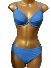 New Blue Plunge Bikini UK 14 Underwired low front foam lined cups Ladies