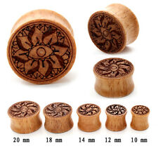 1 pair 00g-20mm Lotus Wooden Ear Plug Gauges Expansion Earrings Lobe Piercing