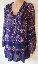 Womens Tunic Blouse & Camisole set Size 10 12 New Ladies Purple Floral print NWT