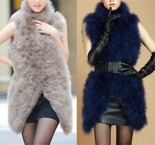 Ivory blush pink real hairy Ostrich Feather furry Fur vest waistcoat bridal size