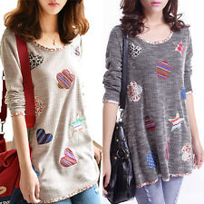 Fancy Women Girls Cotton Blend Long Sleeve Flower Star Heart Vogue Tops Blouse