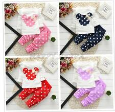 2PCS Baby Kids Girls Minnie Mouse Polka Dots Top T-shirt + Pants Outfits Clothes