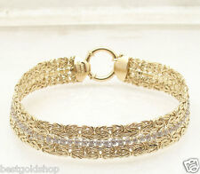UNIQUE Double Row Byzantine Bracelet with CZ Tennis Link Real 14K Yellow Gold