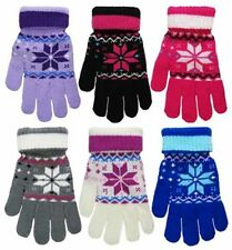 Ladies Womens Adult One Size Gloves Fairisle Snowflake Design Soft Knitted Glove